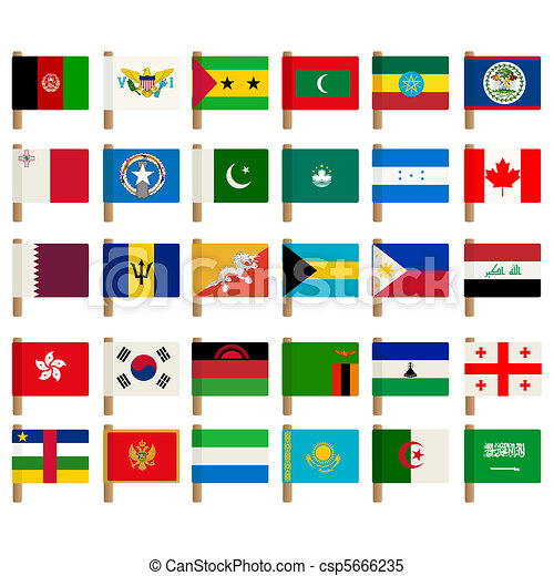 mondo, bandiera, set, 3, icone - csp5666235
