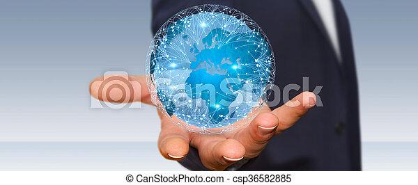 mondo, differente, connettere, locali, uomo affari - csp36582885