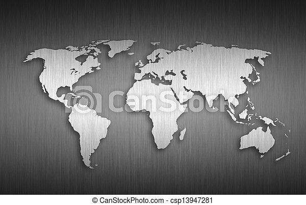 mondo, metallo, fondo, mappa - csp13947281