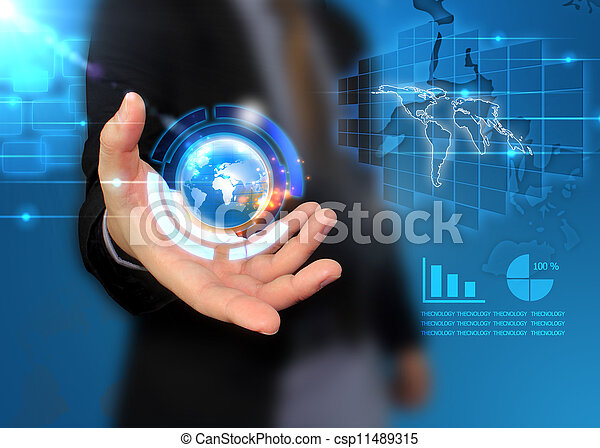 mondo, presa a terra, affari, mano - csp11489315