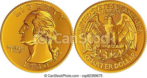 moneda, 25, oro, dinero, centavo, cuarto, norteamericano, washington - csp82389675
