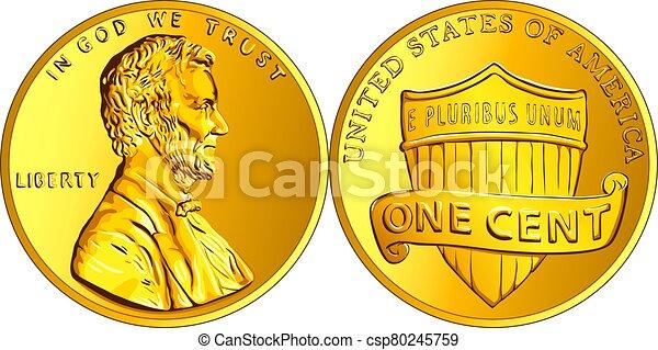 moneda, centavo, penique, dinero, vector, norteamericano, oro, uno - csp80245759