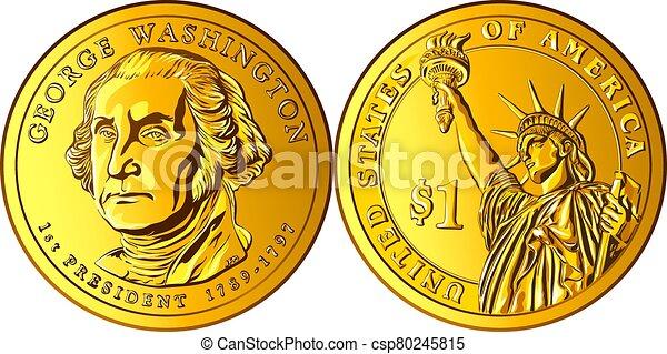 moneda, dólar, dinero, vector, norteamericano, oro, uno - csp80245815
