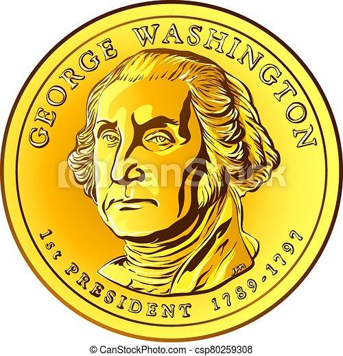 moneda de oro, un dólar, vector, dinero, norteamericano - csp80259308