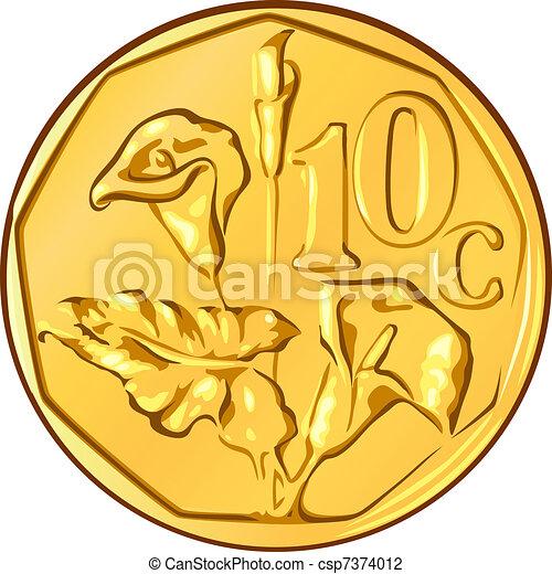 El dinero del vector es una moneda de oro sudafricana, 10 centavos el alo de una flor - csp7374012