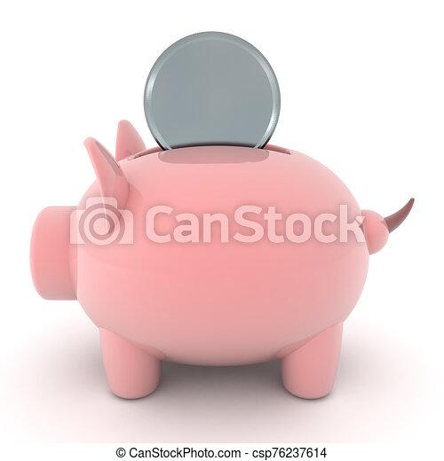 moneda, insertado, 3d, banco, interpretación, ser, cerdito - csp76237614