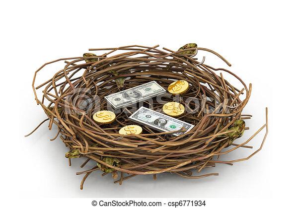 Un dólar y una moneda en el nido - csp6771934