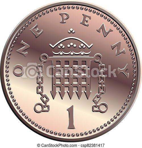 moneda, uno, dinero, británico, penique, vector - csp82381417