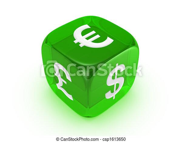 Los dados verdes translúcidos con señal de moneda - csp1613650