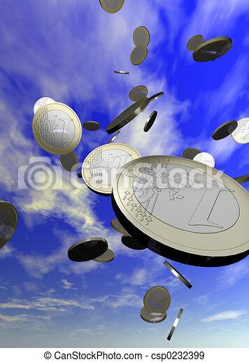 Monedas cayendo - csp0232399