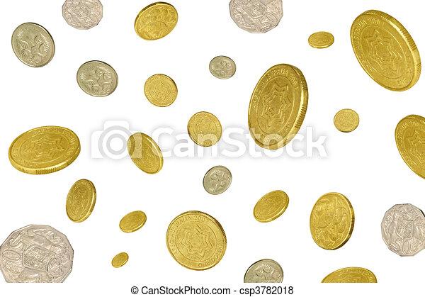 Monedas cayendo de fondo blanco - csp3782018