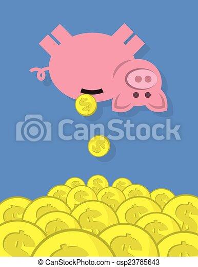 Monedas de banco cayéndose - csp23785643