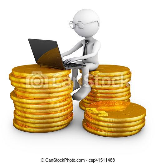 Hombre sentado en monedas. - csp41511488