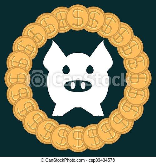 La silueta de un cerdo en un círculo de monedas de oro. Para ahorrar dinero, la banca. - csp33434578