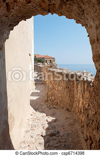 Monemvasia at the Greek Peloponnese - csp6714398