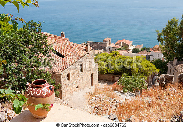 Monemvasia at the Greek Peloponnese - csp6884763