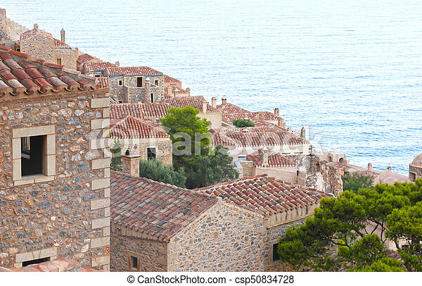 Monemvasia castle Peloponnese Greece - csp50834728