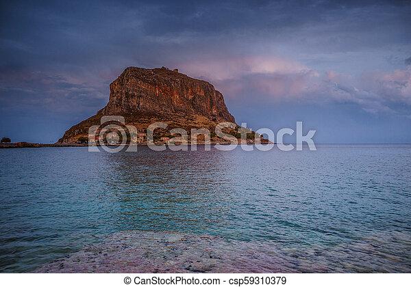 Monemvasia island at evening, Greece - csp59310379