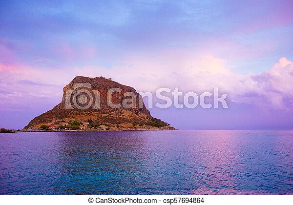 Monemvasia island at evening, Greece - csp57694864