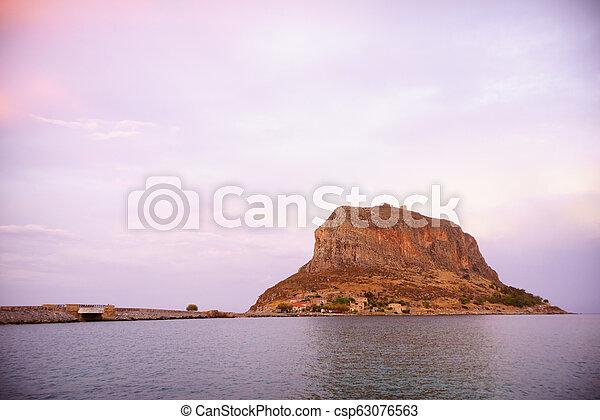 Monemvasia island at evening, Greece - csp63076563