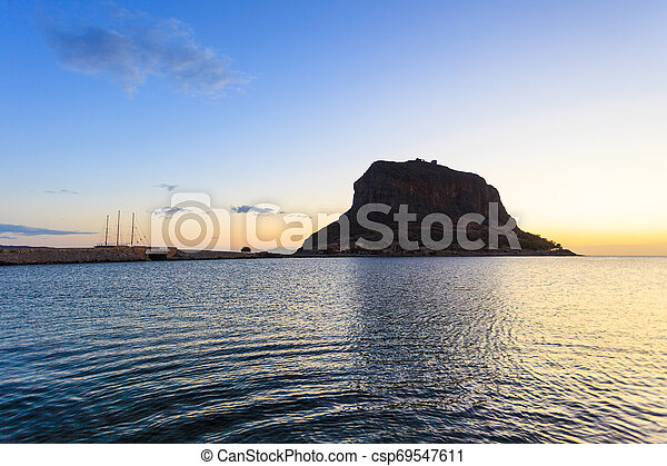 Monemvasia island at morning, Greece - csp69547611
