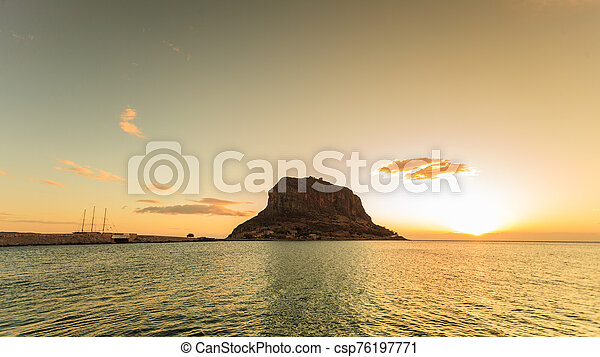 Monemvasia island at morning, Greece - csp76197771