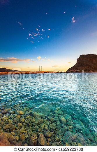Monemvasia island at morning, Greece - csp59223788