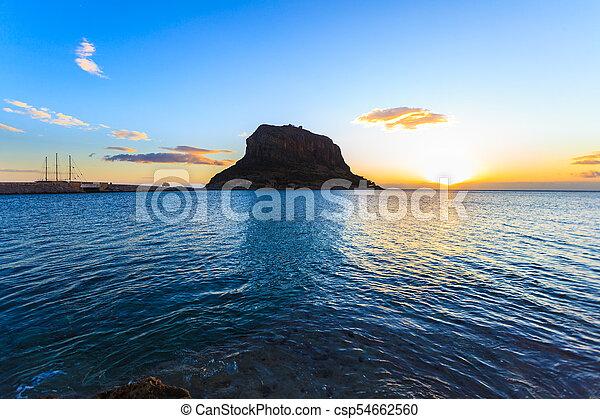Monemvasia island at morning, Greece - csp54662560
