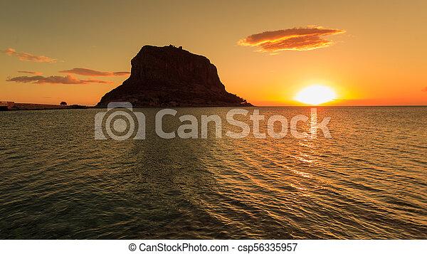 Monemvasia island at morning, Greece - csp56335957