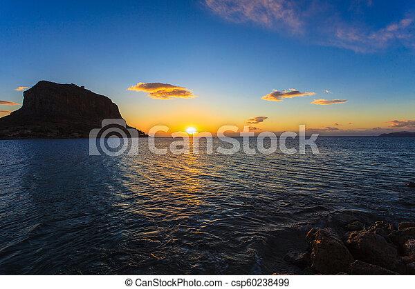 Monemvasia island at morning, Greece - csp60238499