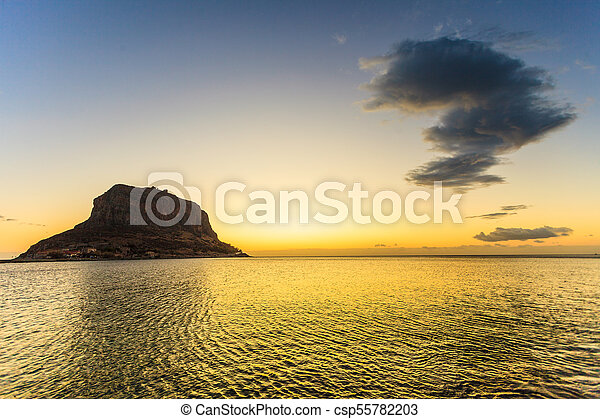 Monemvasia island at morning, Greece - csp55782203