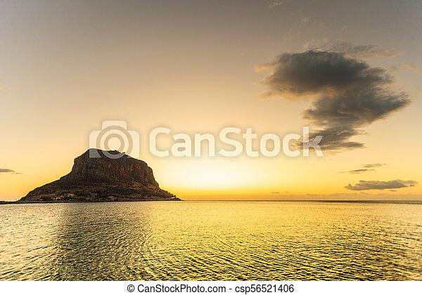 Monemvasia island at morning, Greece - csp56521406