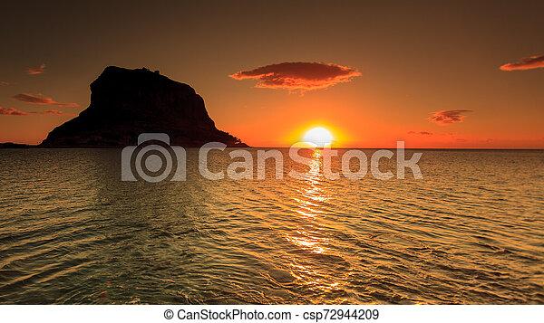Monemvasia island at morning, Greece - csp72944209