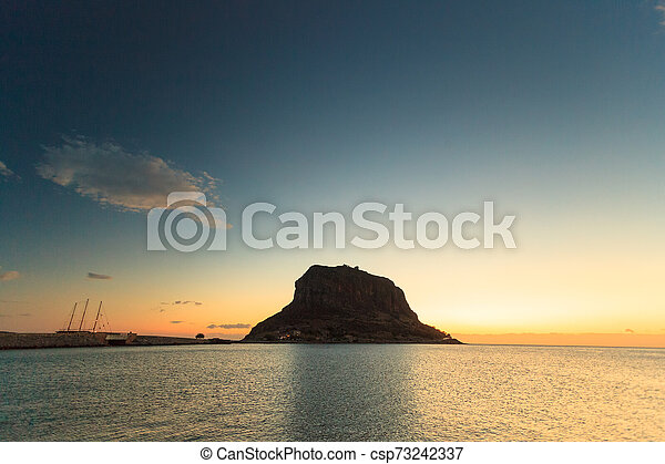 Monemvasia island at morning, Greece - csp73242337