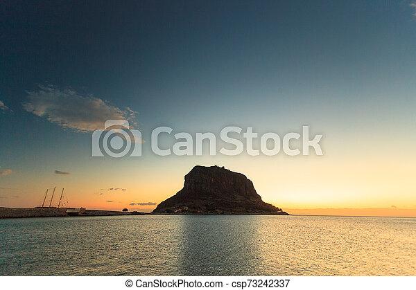 Monemvasia island at morning, Greece - csp73242337