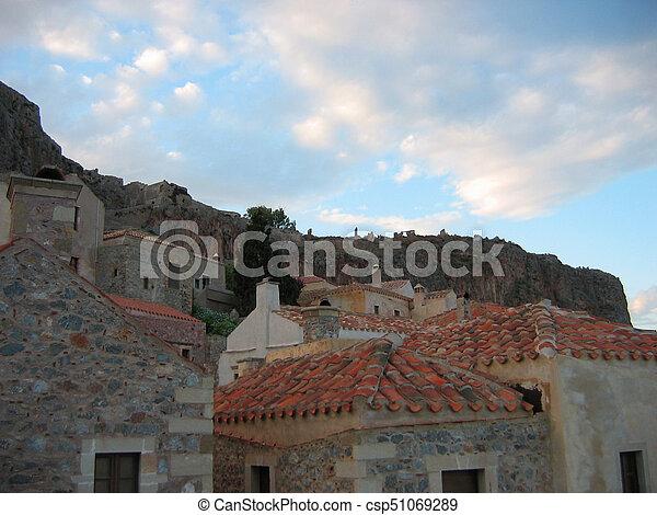 Monemvasia town at Peloponnese Greece - csp51069289