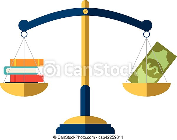 money and book balance on the scale education concept vector rh canstockphoto com balance scale clipart weight balance scale clipart