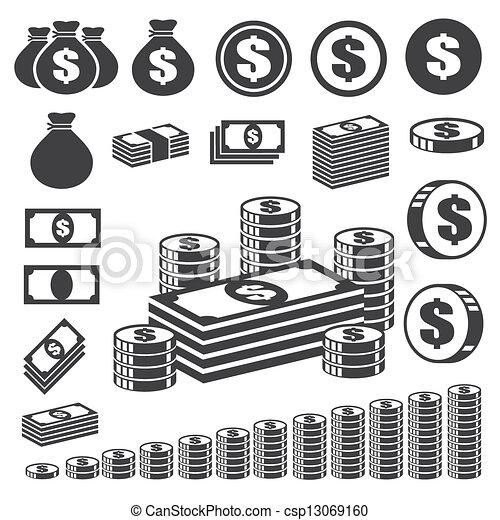Money and coin icon set. - csp13069160