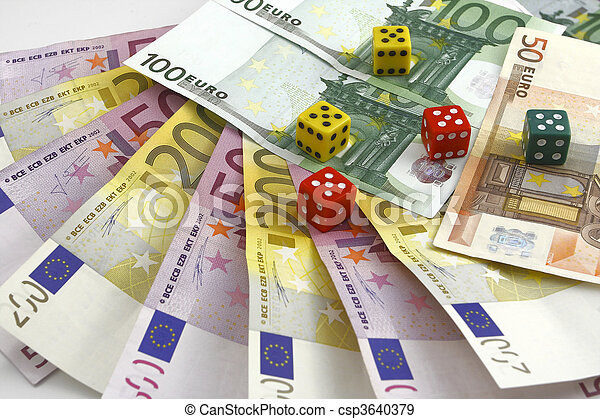 money and dice on the white backgro - csp3640379