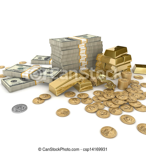 Money And Gold Stacks Of Bars Cash A Dollar Sign