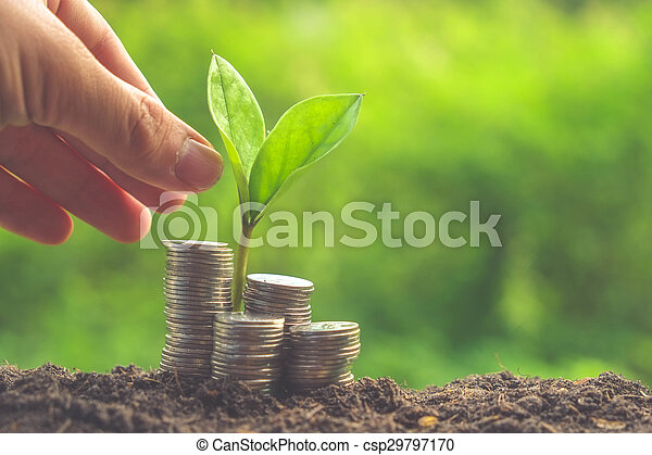 Money and plant with hand with filter effect retro vintage style - csp29797170