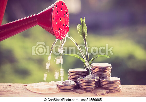 Money and plant with hand with filter effect retro vintage style - csp34559665