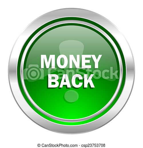 money back icon, green button - csp23753708