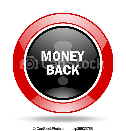 money back red and black web glossy round icon - csp39532755