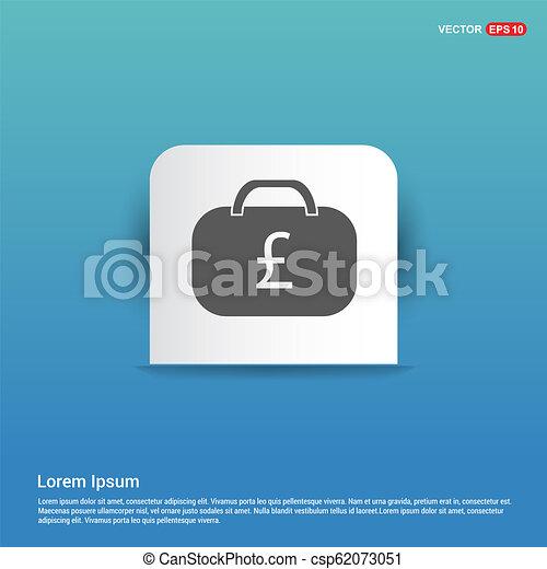 Money Bag Icon - Blue Sticker button - csp62073051