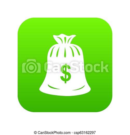 Money bag icon green - csp63162297
