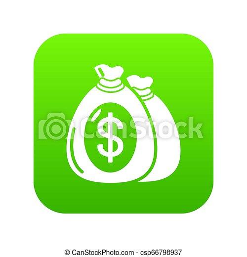 Money bag icon green - csp66798937