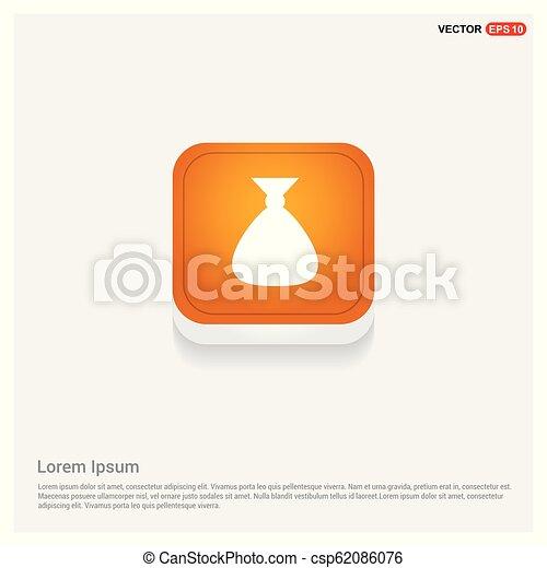 Money Bag icon Orange Abstract Web Button - csp62086076
