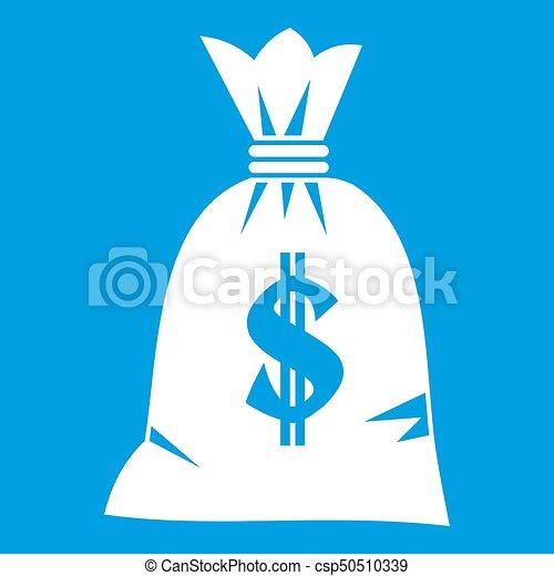 Money bag icon white - csp50510339