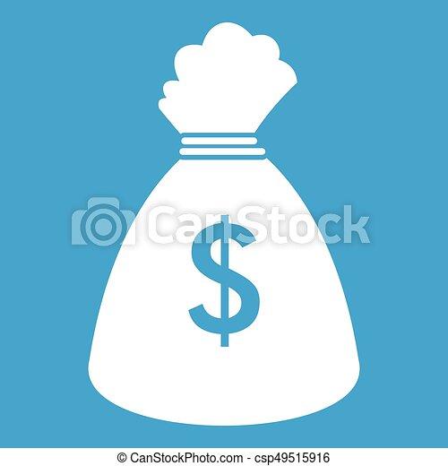 Money bag icon white - csp49515916